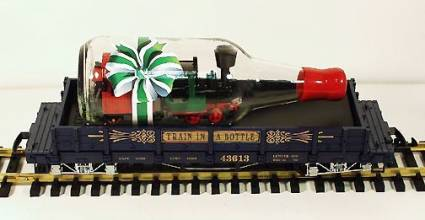 "LGB 43613 ""Train in a Bottle"" flatcar, blue flatcar version, Collection Item"